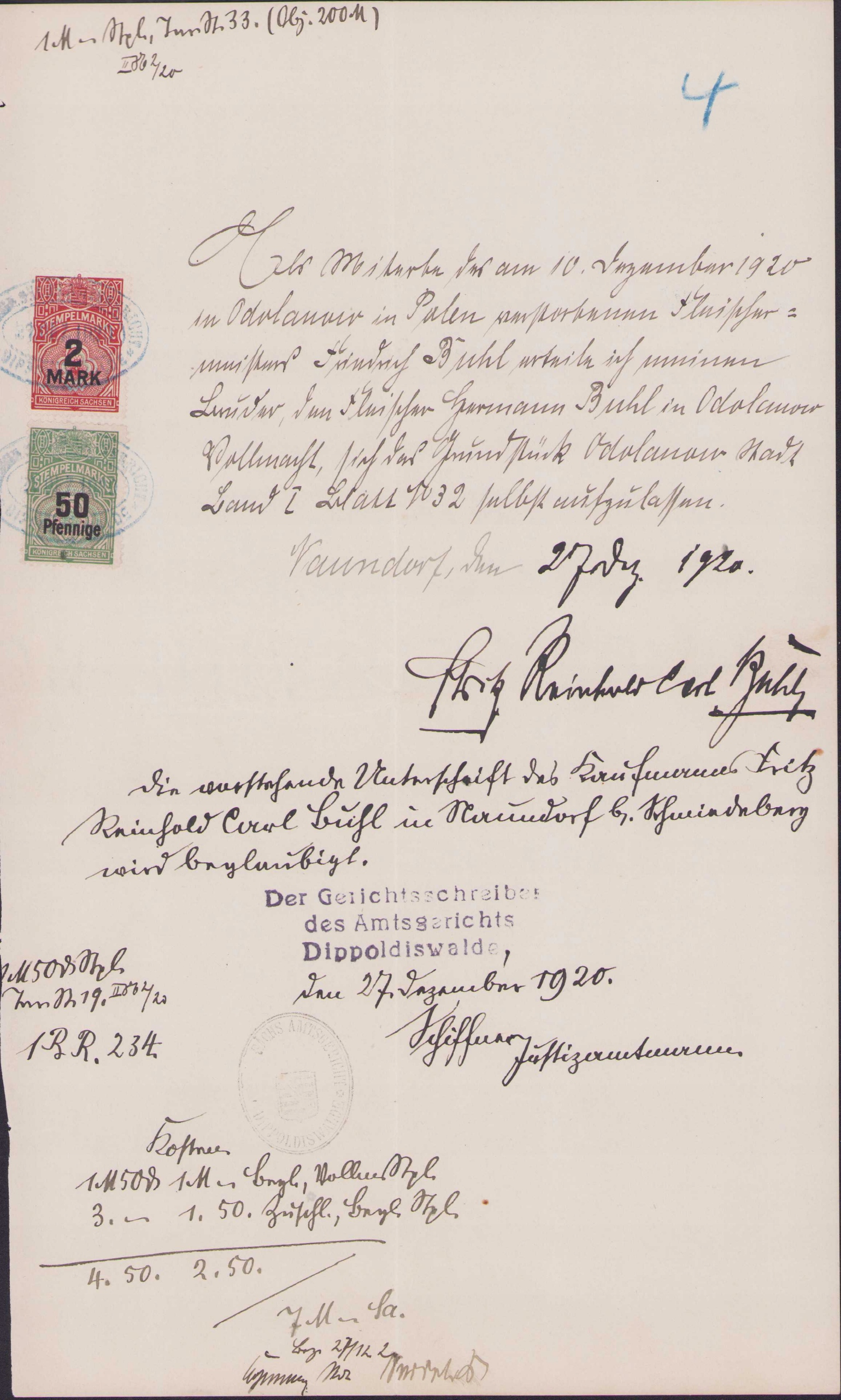 ДОХОД - STEMPELMARKE KONIGREICH SACHSEN 1920