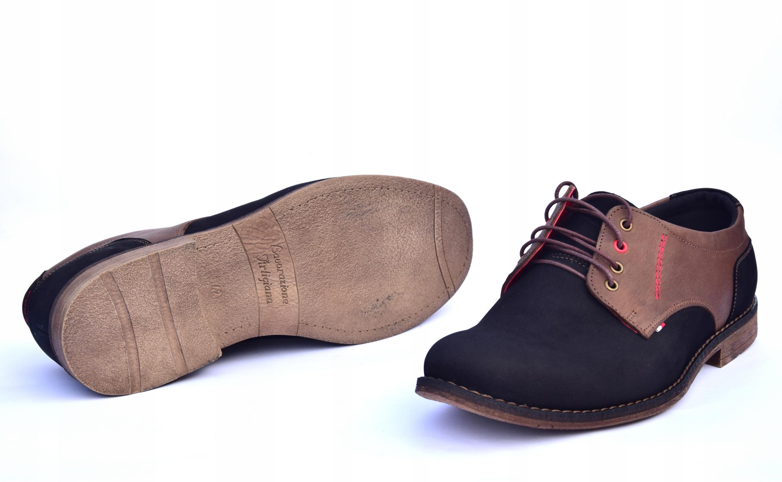 Buty skórzane męskie obuwie polskiej produkcji 258 Materiał wkładki skóra naturalna