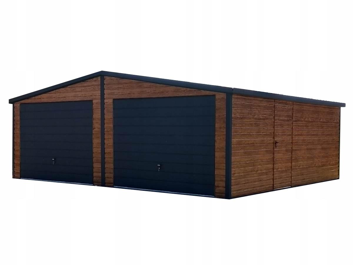 Garaż blaszany 7x5 blaszak okna rynny drzwi grafit