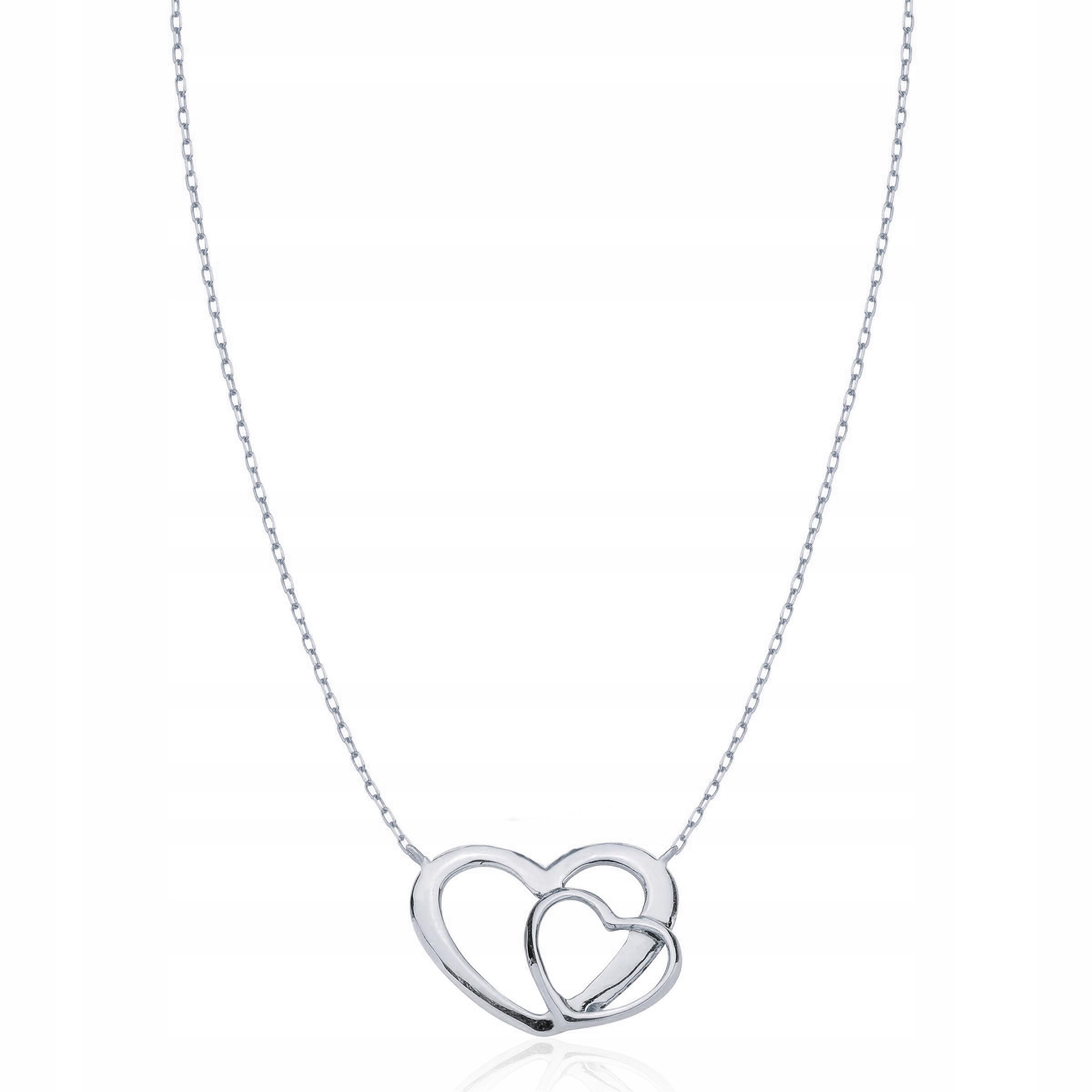 Srebrny naszyjnik 925 podwójne serce GRAWER 7981584024 XfFnlnPc