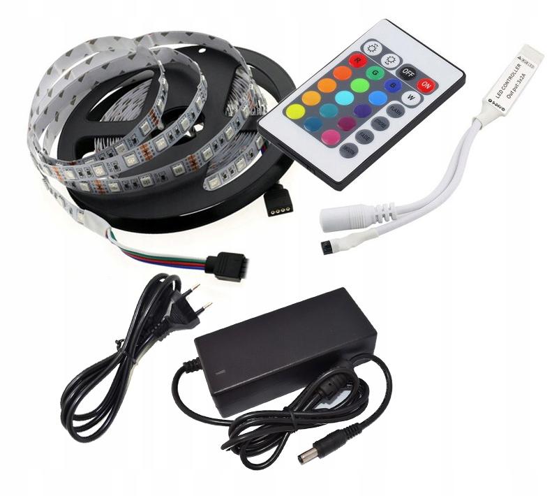 Nastavte LED pásku 2,5 m RGB 5050 60 / M + Napájanie napájania, Diaľkové ovládanie