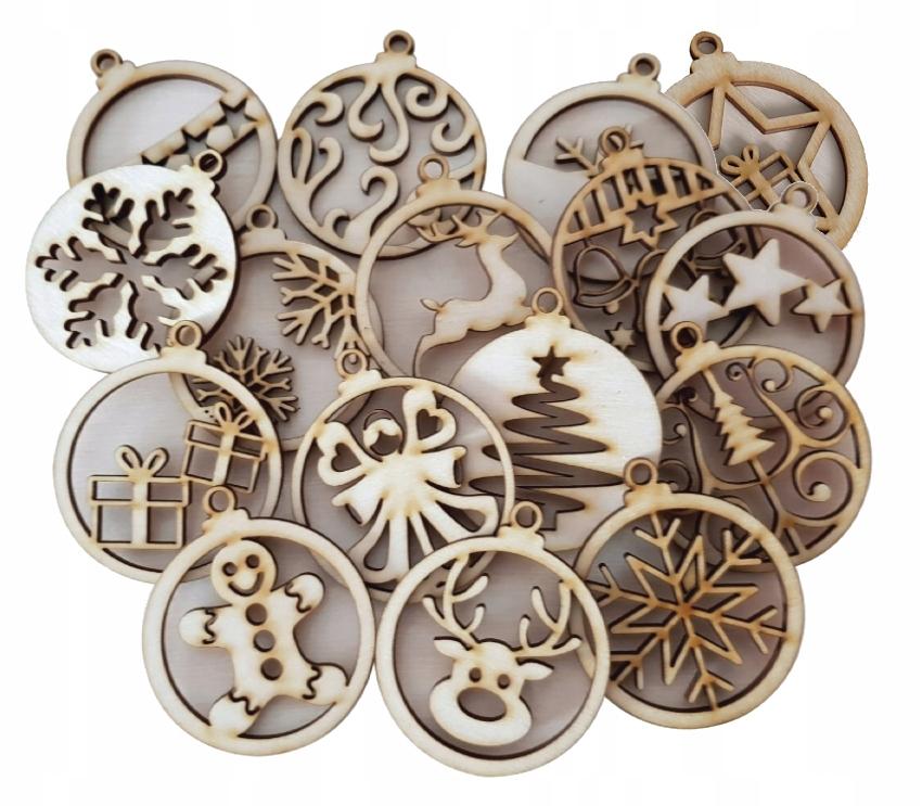 BOMBKI drewniane ozdoby świąteczne choinka 16szt