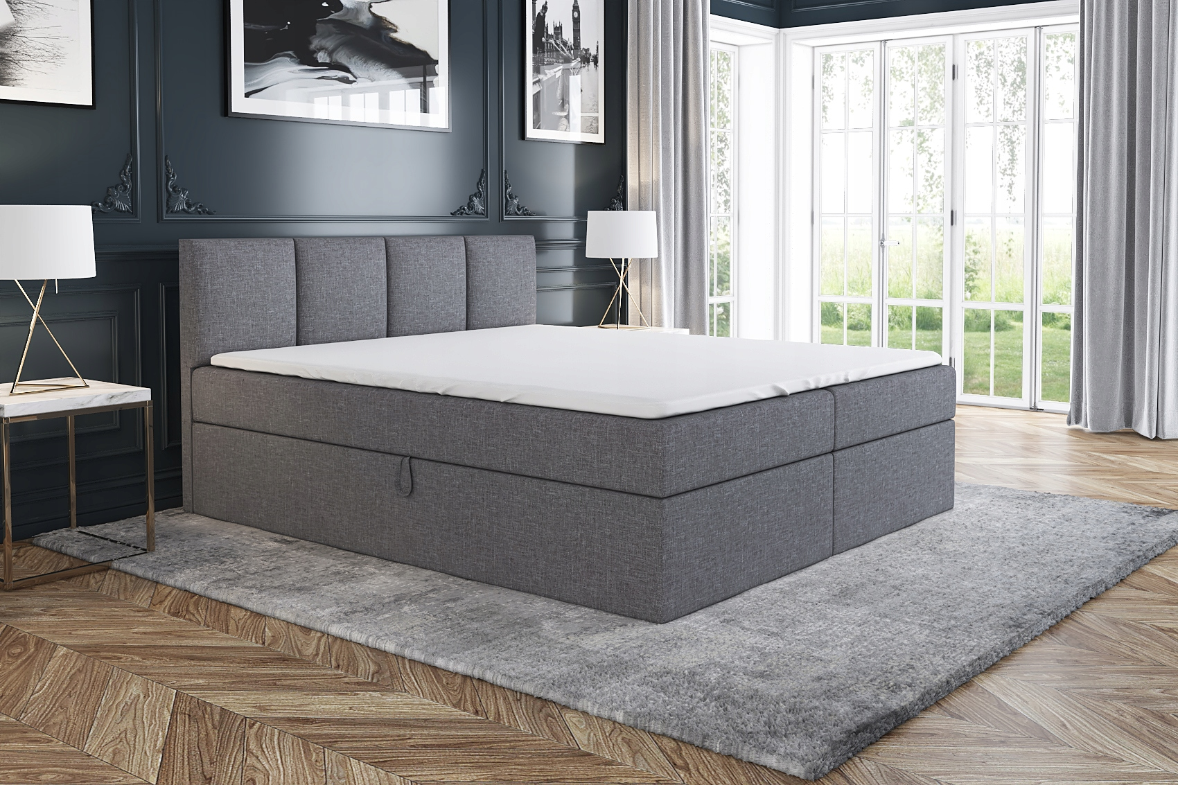 Łóżko Tapicerowane Kontynentalne RALF 160 materac