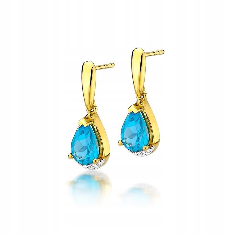 Zlaté náušnice s topazem diamanty a diamanty