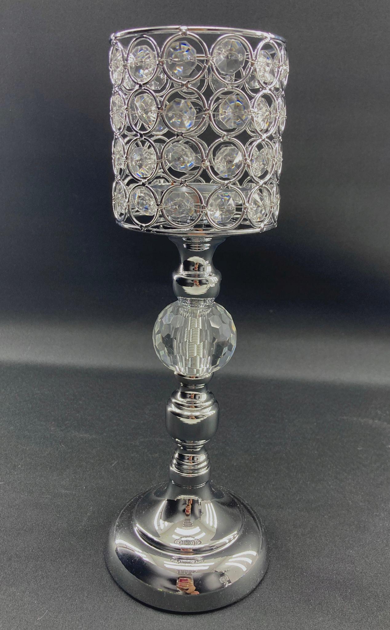 Серебряный металлический подсвечник LAMPION NEW DESIGN 31см