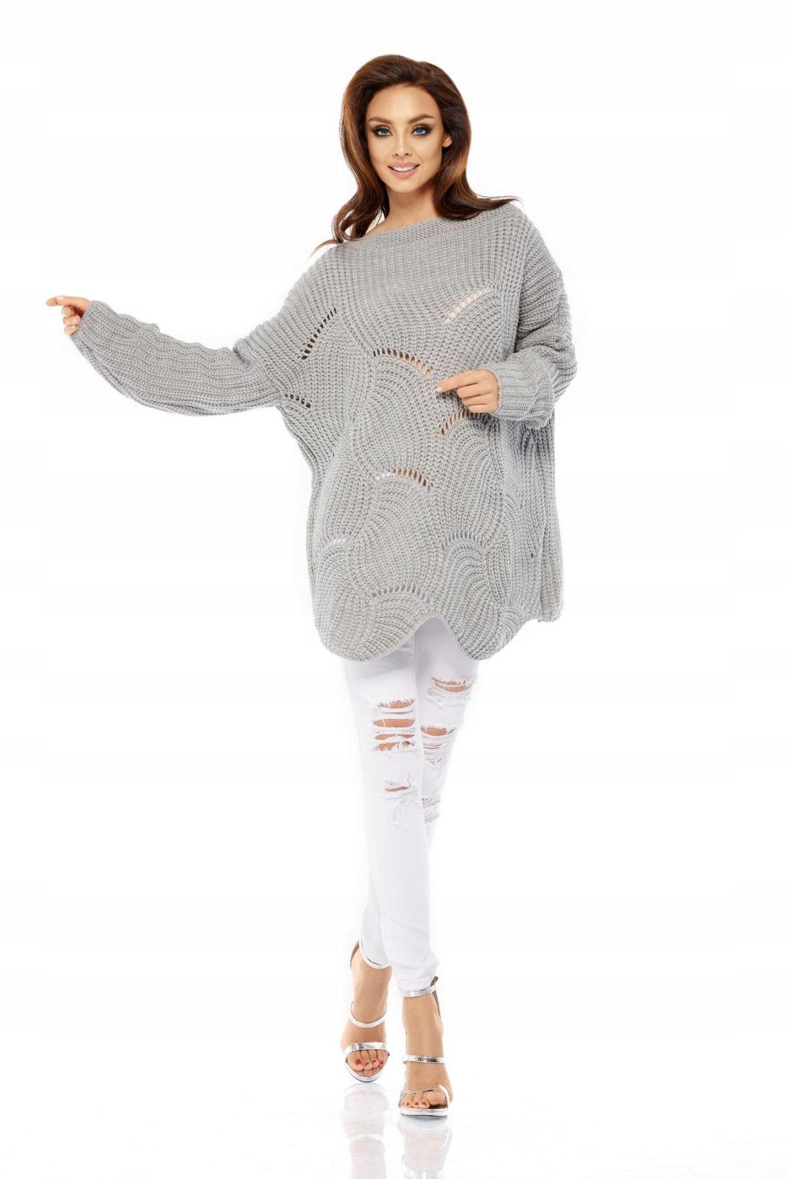 LS209 Luźny sweter oversize jasnoszary S/l