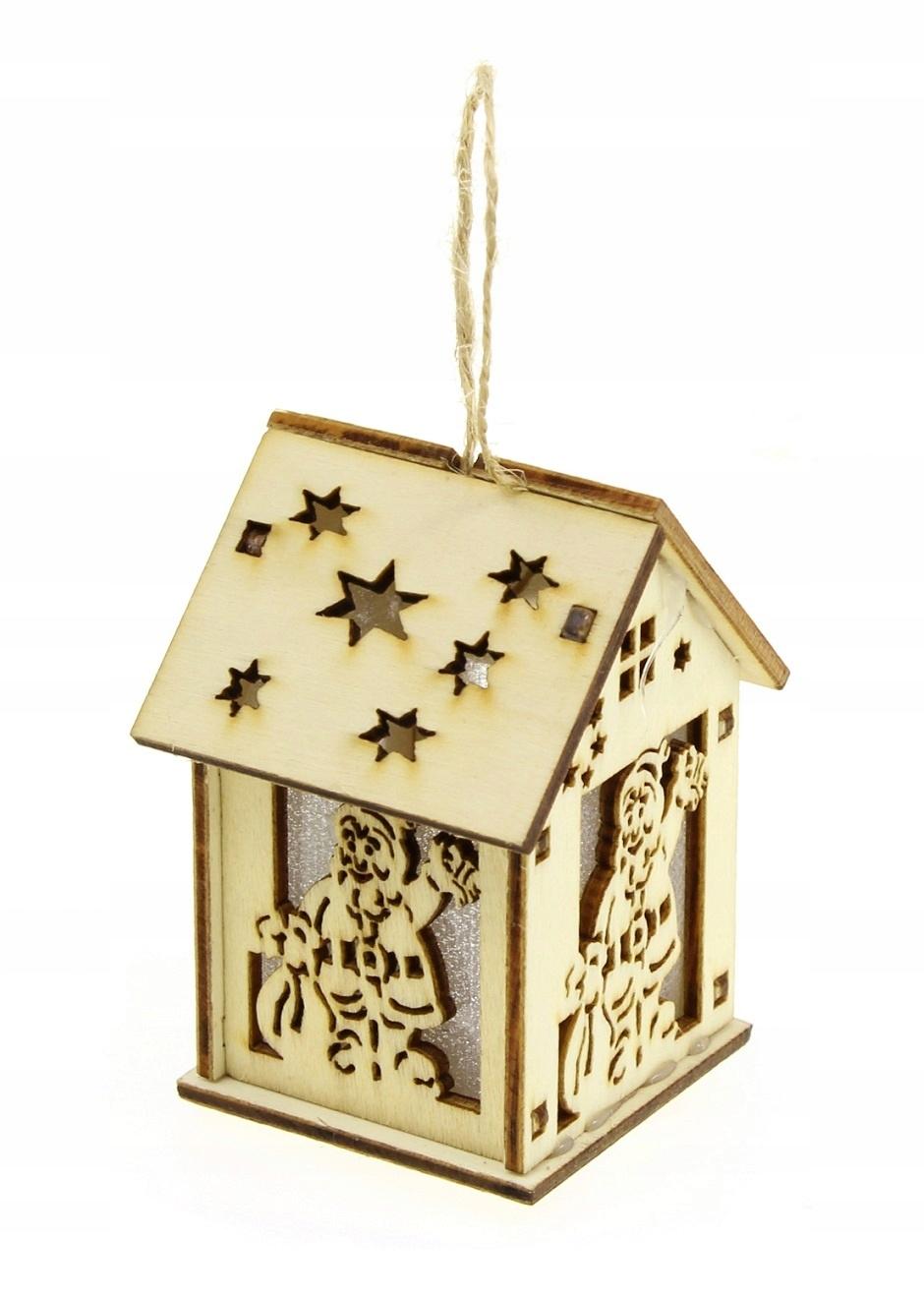 Lampion drewniany LED chatka Mikołaj ozdoba Roraty