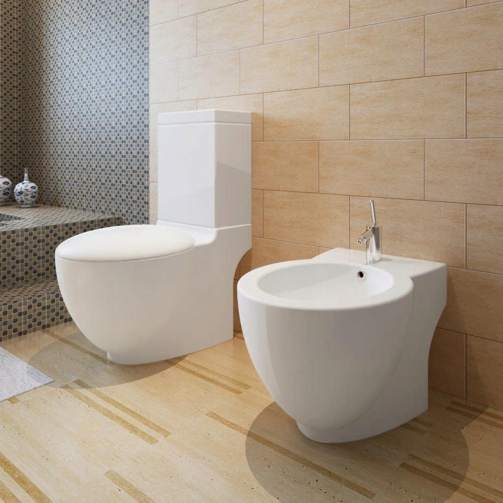 Biela keramická WC misa a bidet