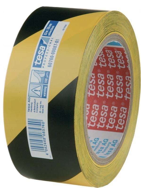 Лента для разметки пола TESA, желто-черная, 33м