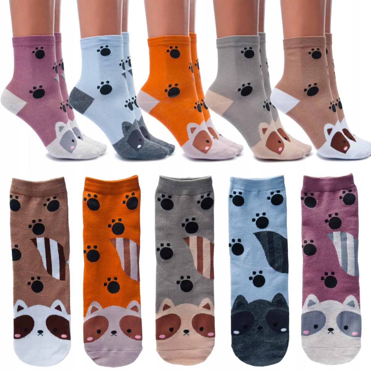 Bawełniane Damskie Skarpety Ciepłe Kolorowe Koty