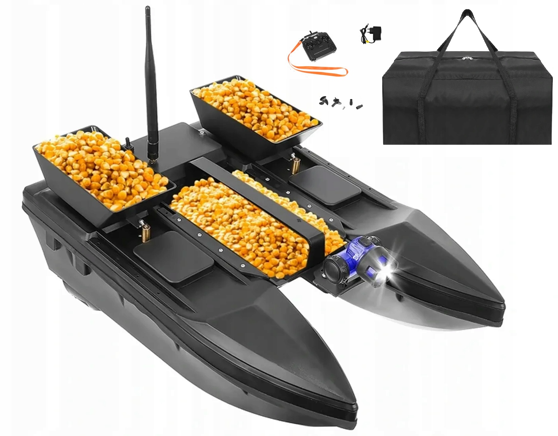 Łódka Zanętowa Katamaran 3 Komory 2 akumulatory