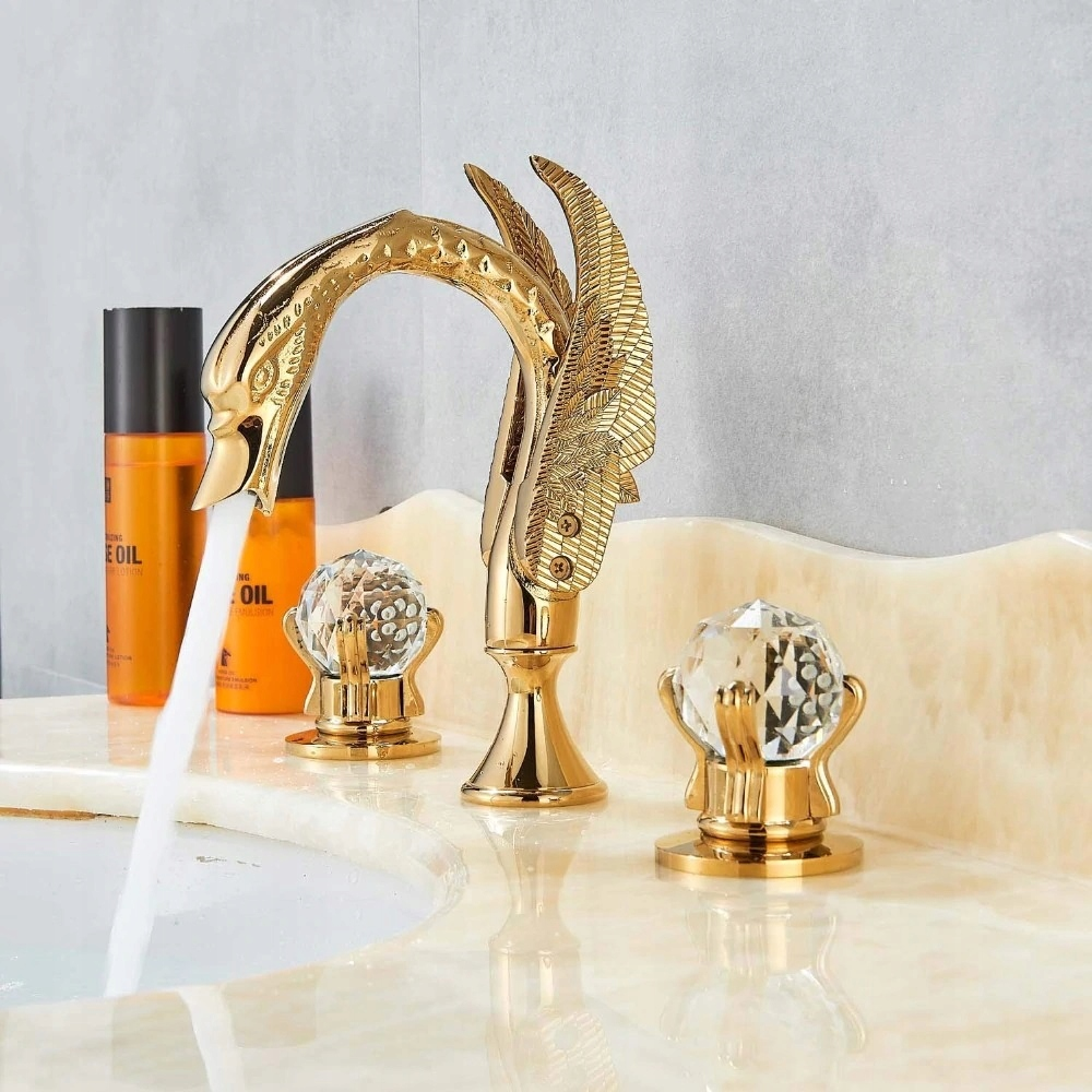 Umývadlový kohútik Retro Swan GOLD CRYSTAL
