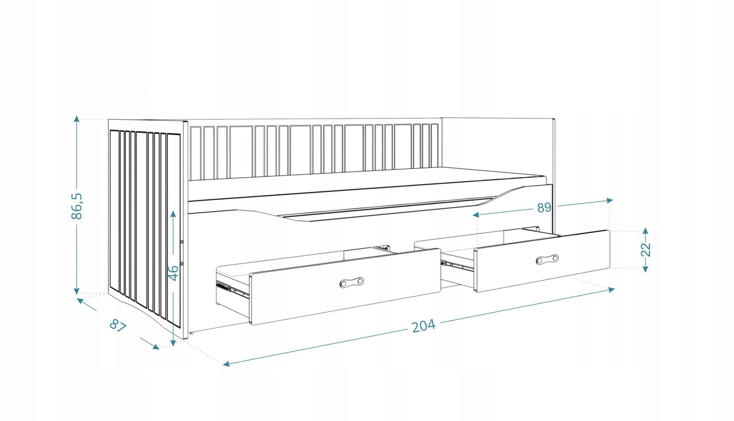 Łóżko rozkładane HERMES materace szuflady białe Rodzaj łóżka Podwójne