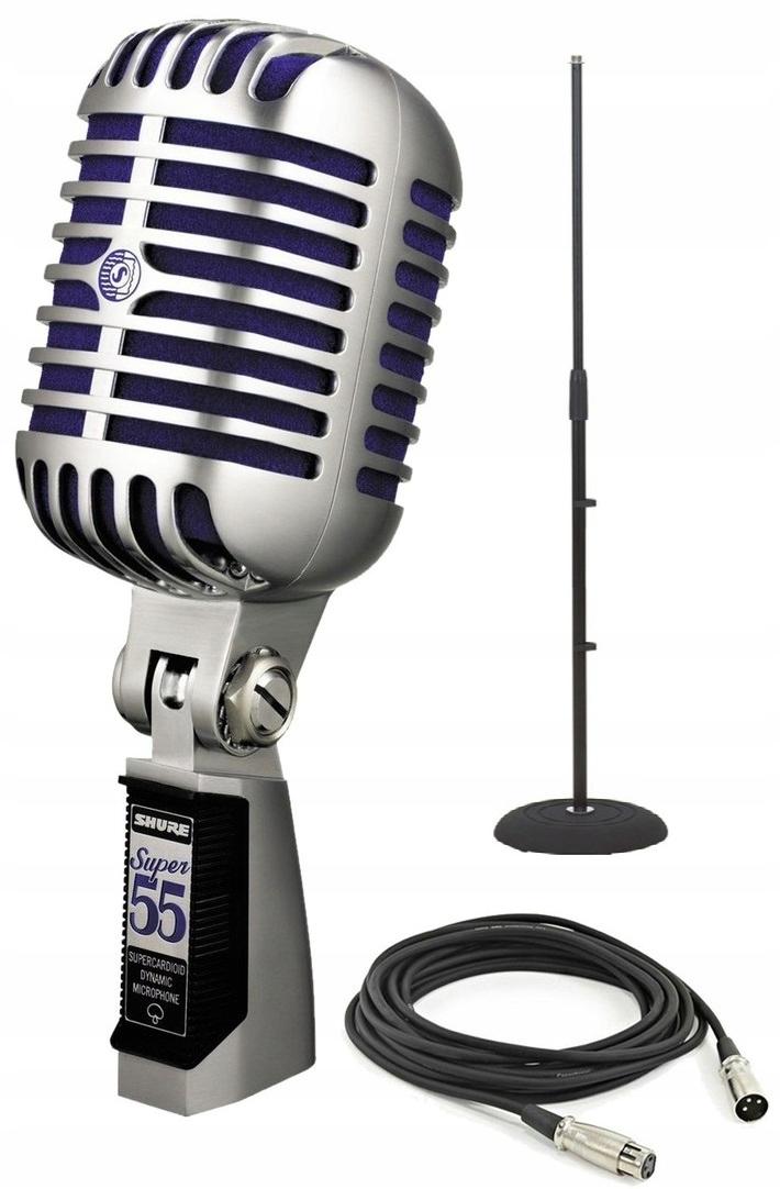 SHURE 55 SUPER retro mikrofón + stojan + kábel HIT