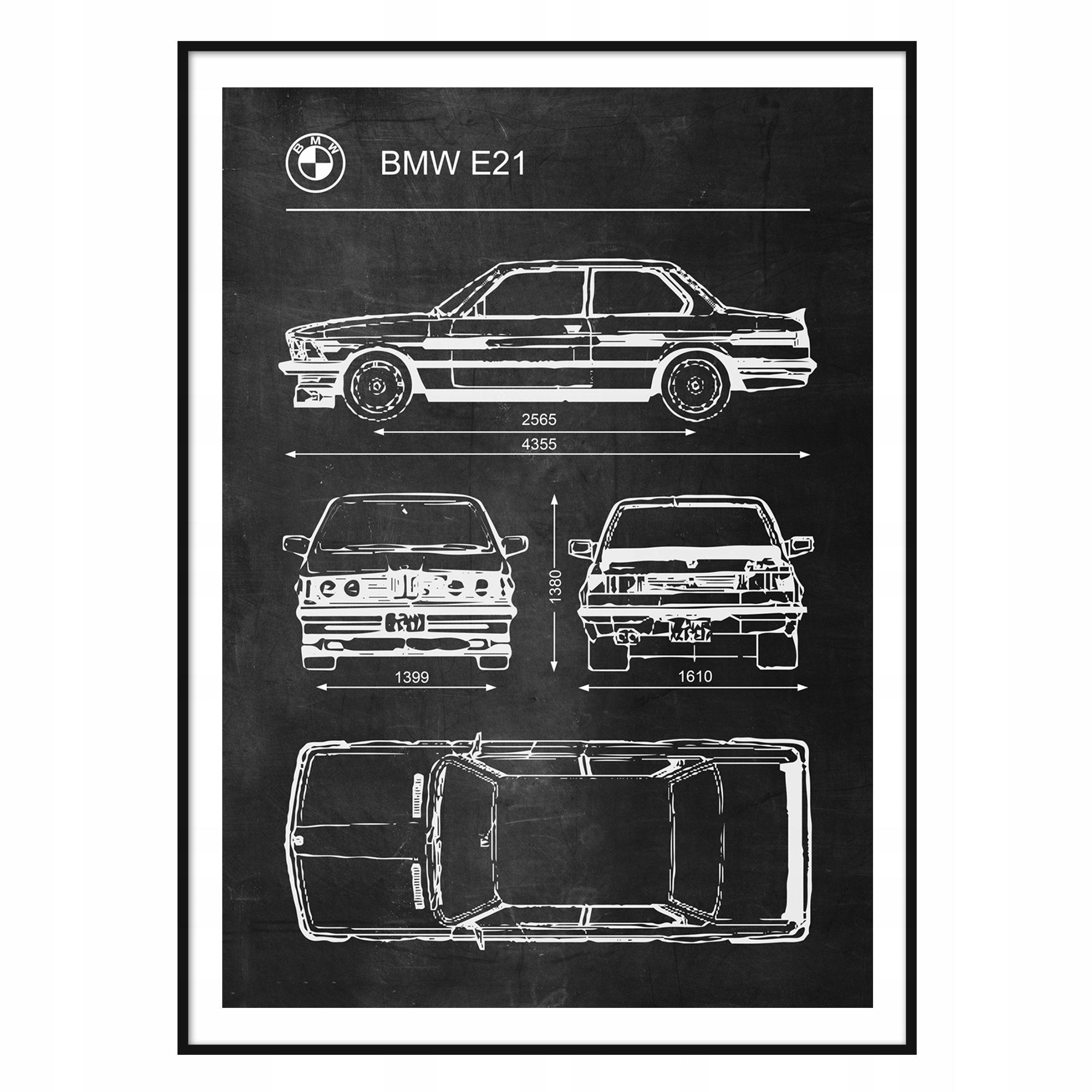 Schematický plagát BMW E21 Retro