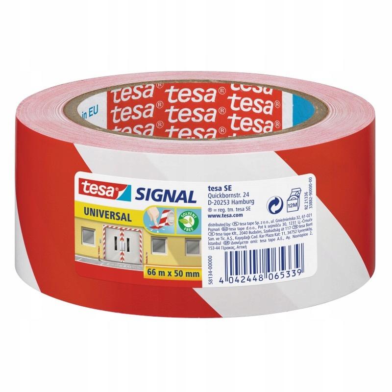 Taśma ostrzegawcza tesa biało czerwona 66m x 50mm