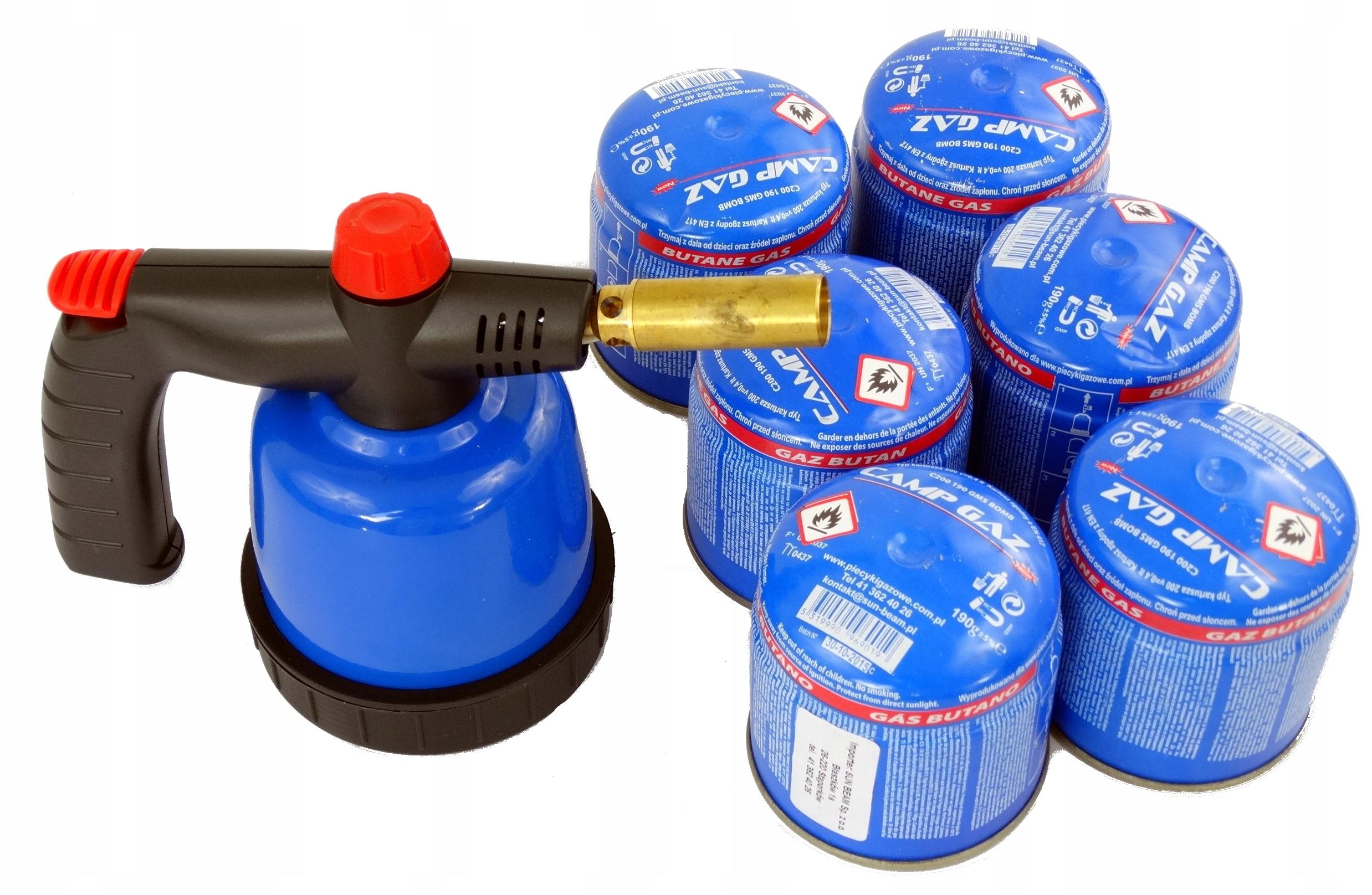 LUTLAMP Горелка газовая паяльная лампа + 6 патронов