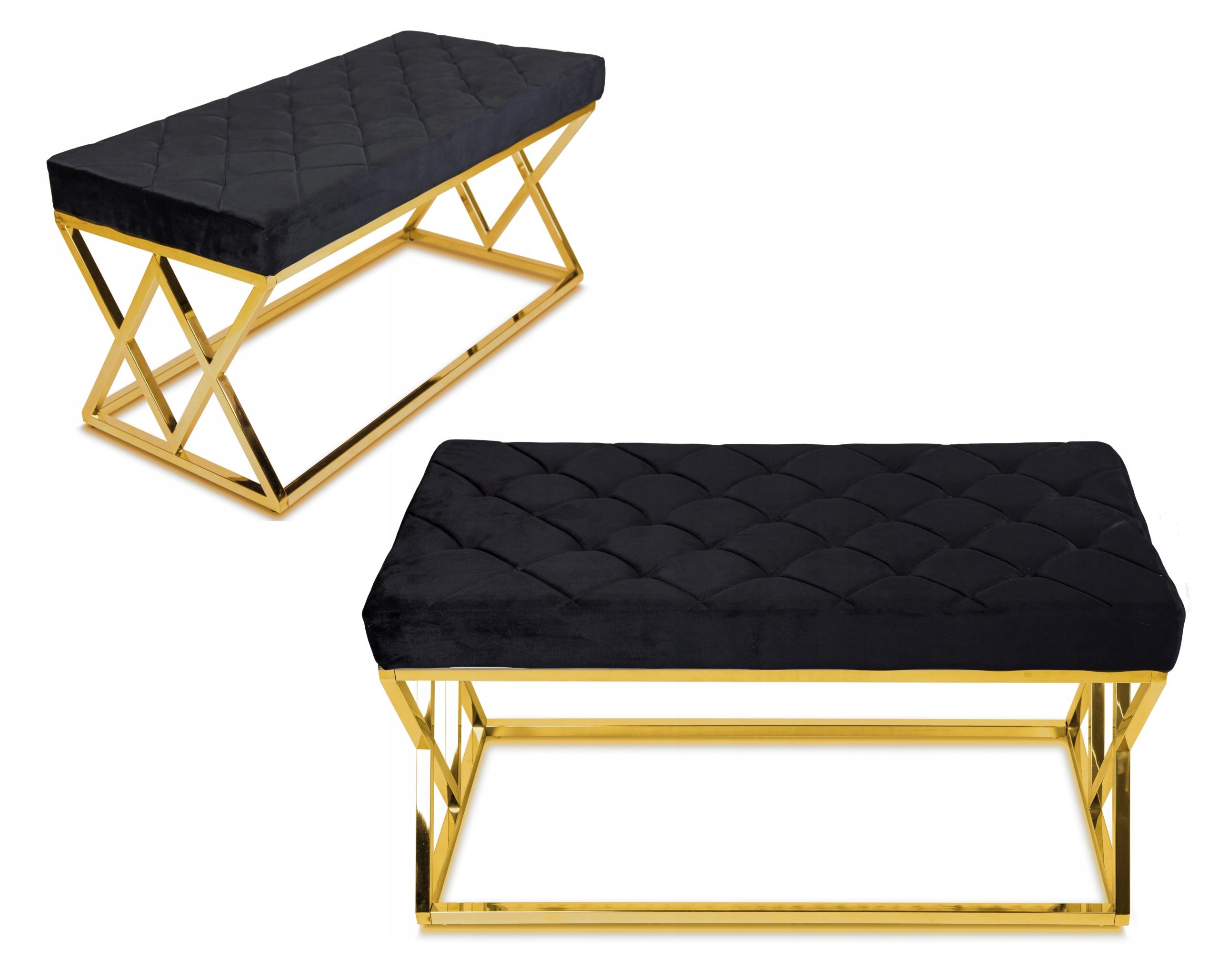 Prešívané sedadlo Timantti Gold Black retro pouf