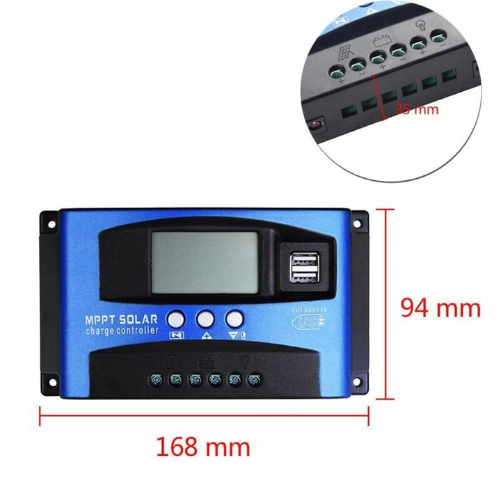 MPPT SOLARNY REGULATOR ŁADOWANIA USB 12V/24V 30A