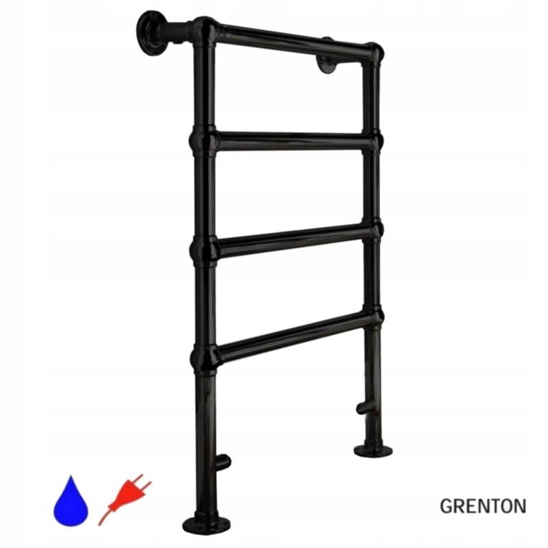 GRENTON Retro kúpeľňový radiátor čierny H96x60cm