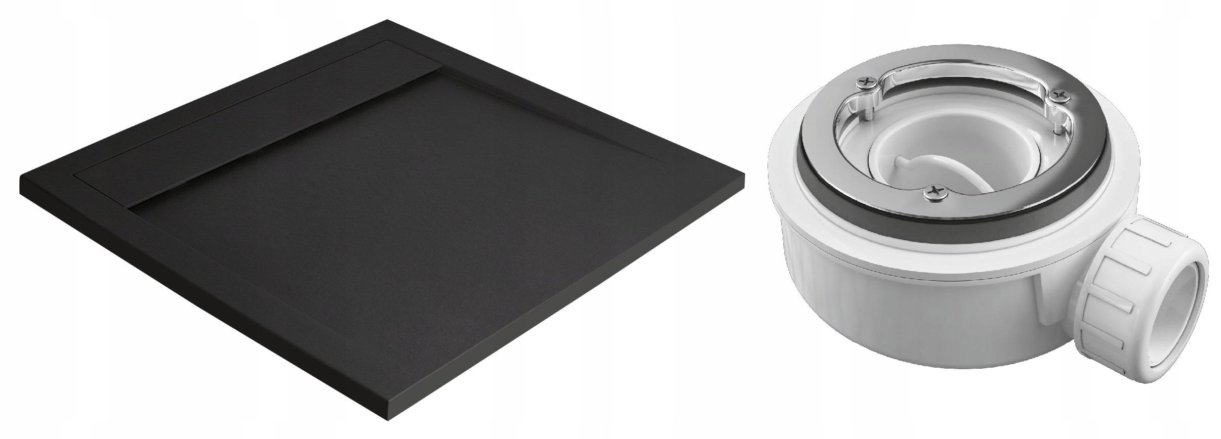 Čierna sprchová vanička Teos C 100x100 RADAWAY + sifón HS1
