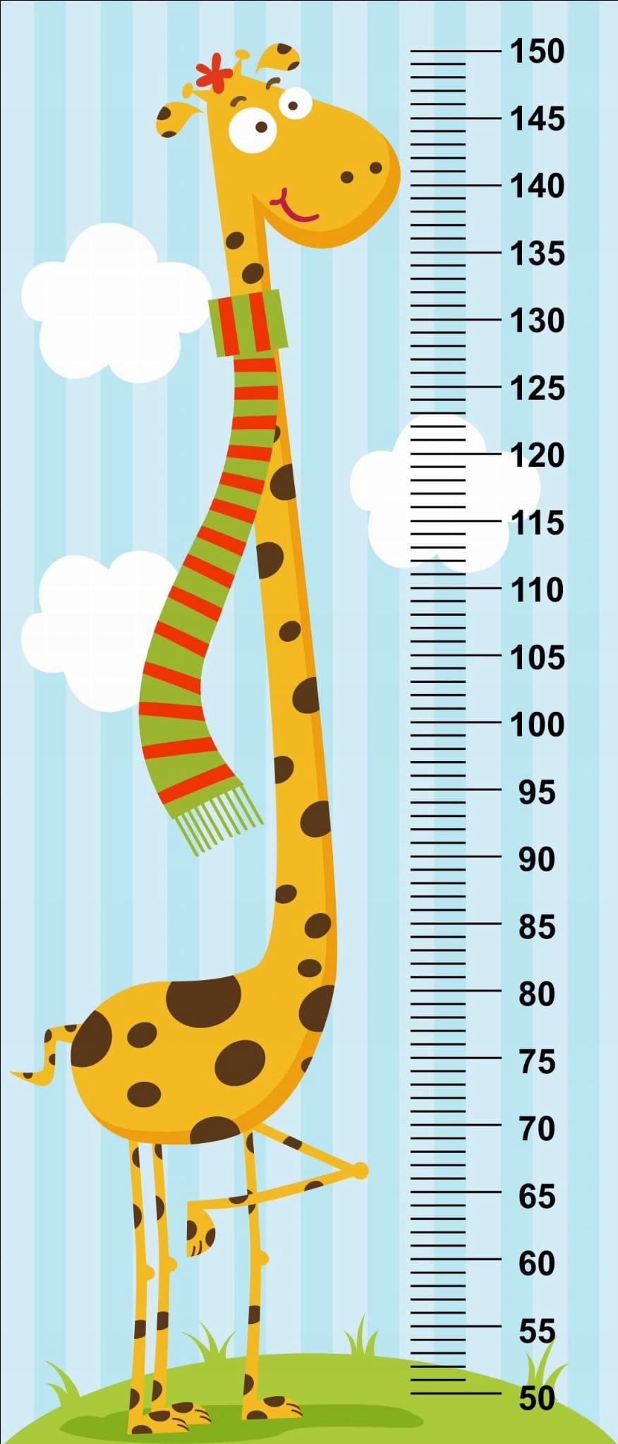 наклейка для измерения роста жирафа для ребенка