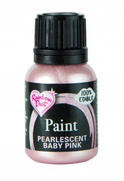 Farba spożywcza jadalna perłowa - Baby Pink, 25 ml
