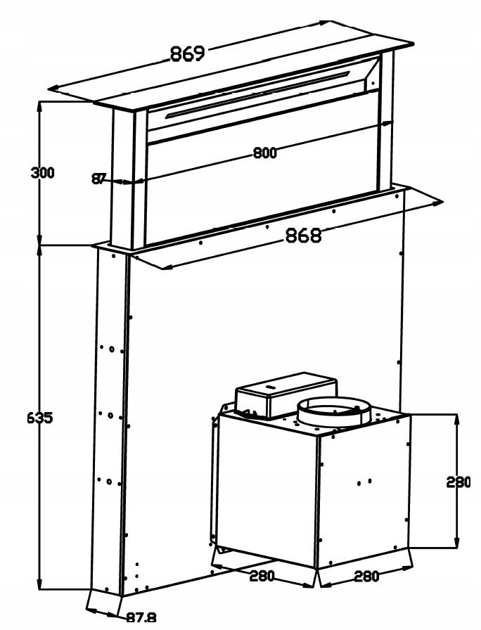 Витяжка для кухні, висувна стільниця 90 SCHILD Код виробника DK900