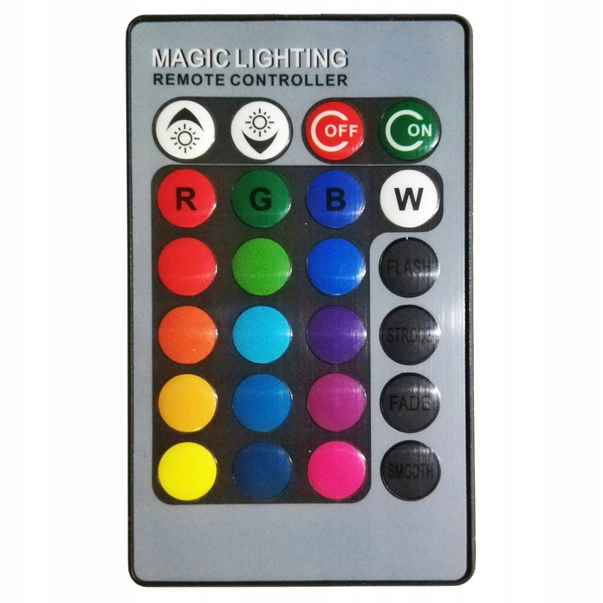 LED ŽIAROVKA s DIAĽKOVÝM RGB + BIELA KULIČKA E27 10W Svetlá viacfarebná