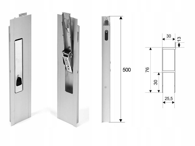 Замок вертикальный алюминиевый Н500 с язычком, пломбой