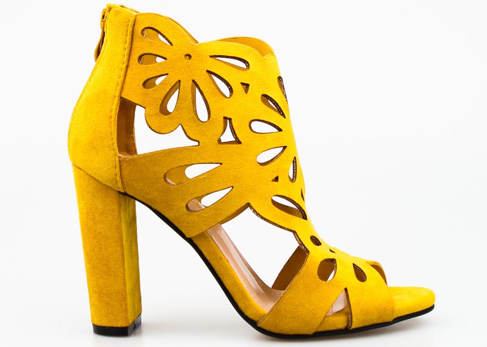 Żółte Sandały Botki Zmysłowe Zamszowe Obcasy 37