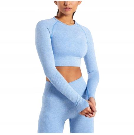 Niebieskie legginsy top z długim rękawem fitness