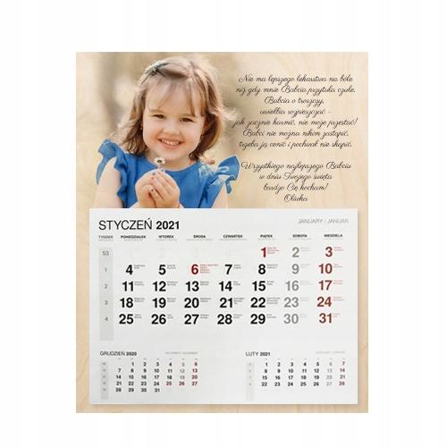 Prezent dzień babci kalendarz 2021 zdjęciem 40 cm