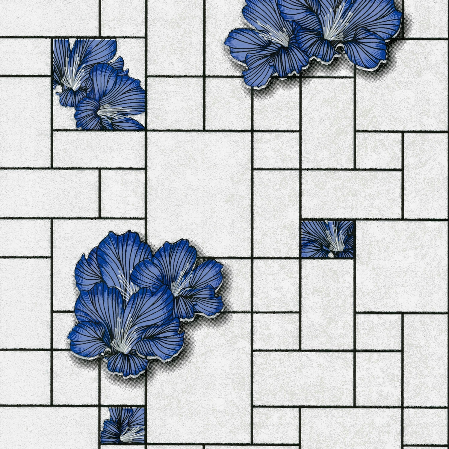 Кухня обои плитка квадраты цветы мрамор