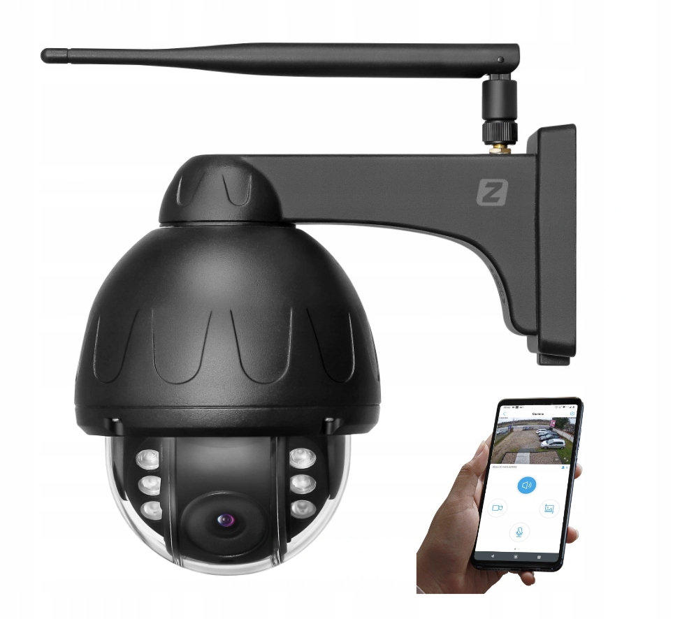 Уличная поворотная WiFi-камера 5MPx 4MPx, черная