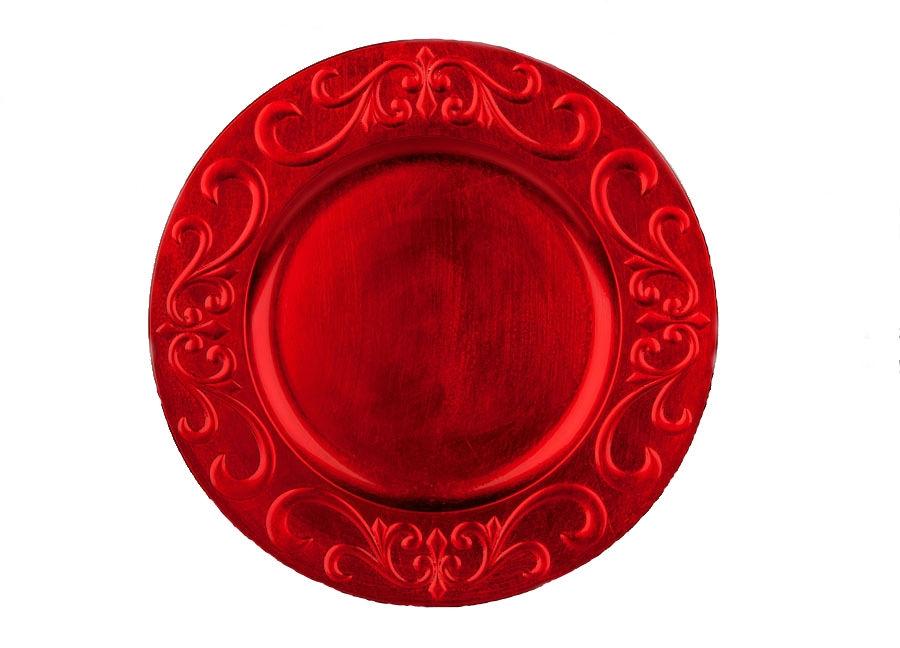 Talerz podtalerz plastikowy ozdobny 33cm czerwony