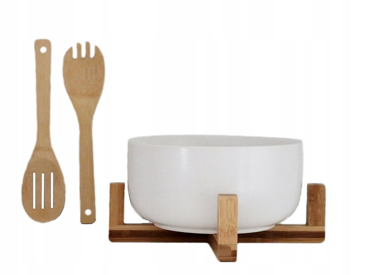 Porcelanowa MISKA na sałatki + bambus kpl 4 el