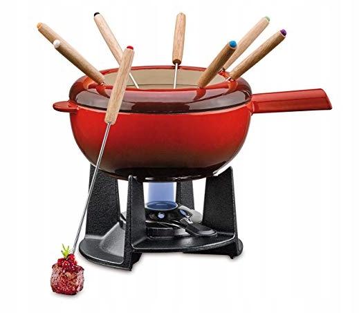 Zestaw do fondue Sas-Fee z żeliwa, czarny, Ø 20 cm