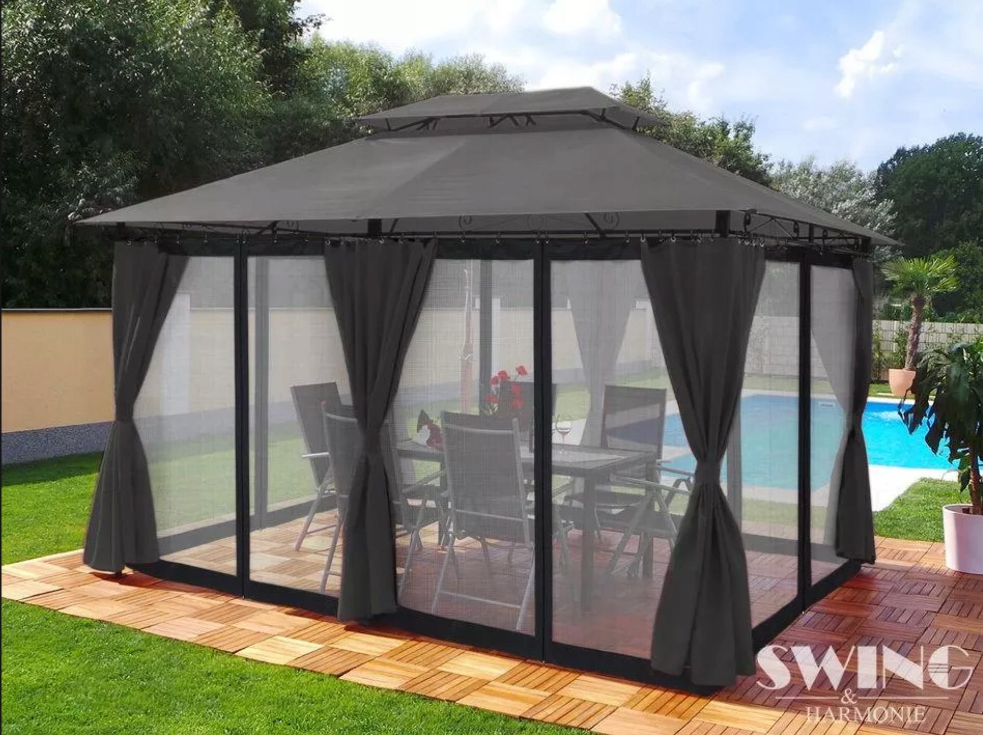 Exkluzívny záhradný altánok altánok 3x4 moskytiéra výrobcu tentech