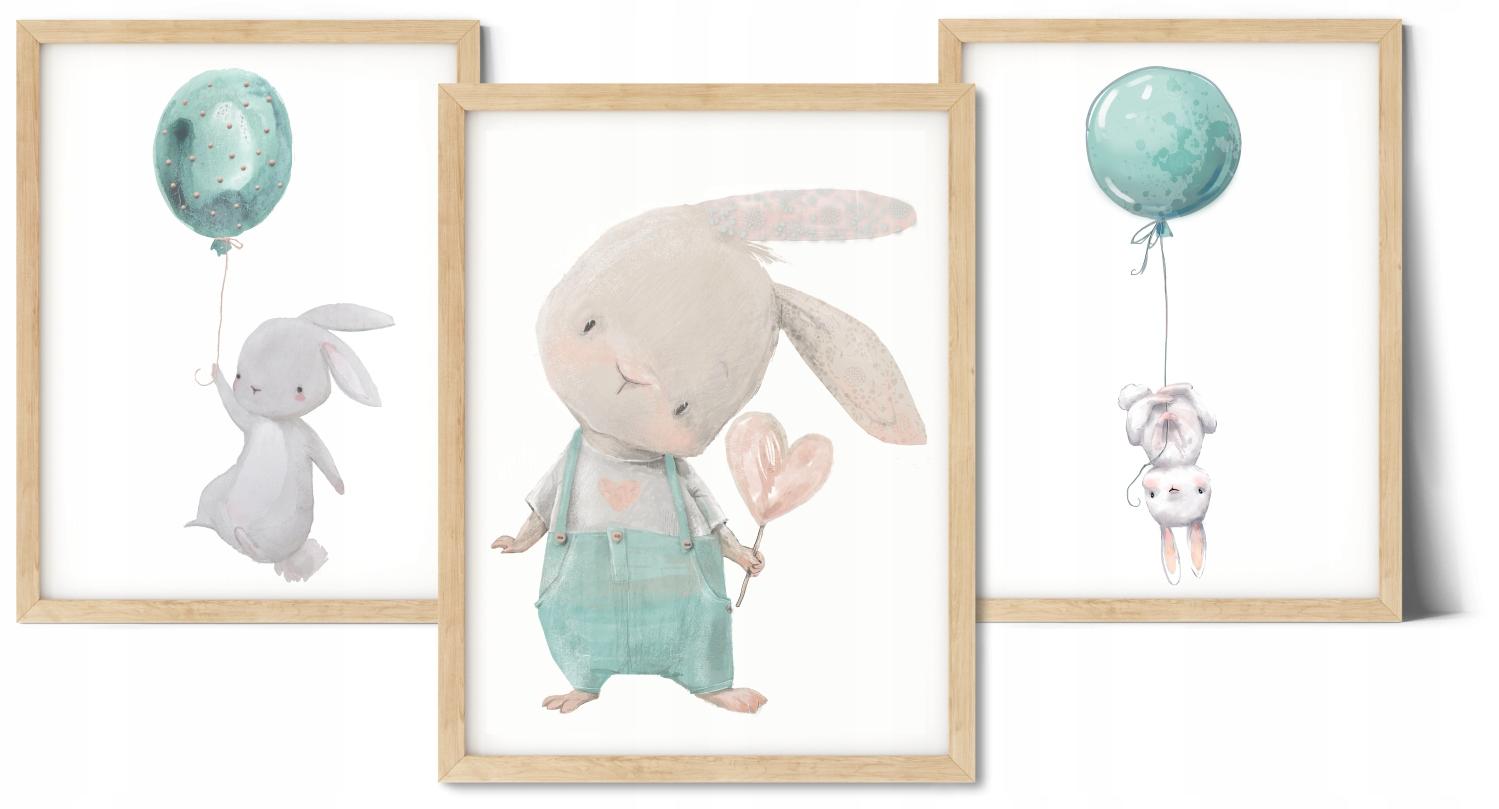 Zestaw 3 obrazki A3 plakaty miętowy króliczek