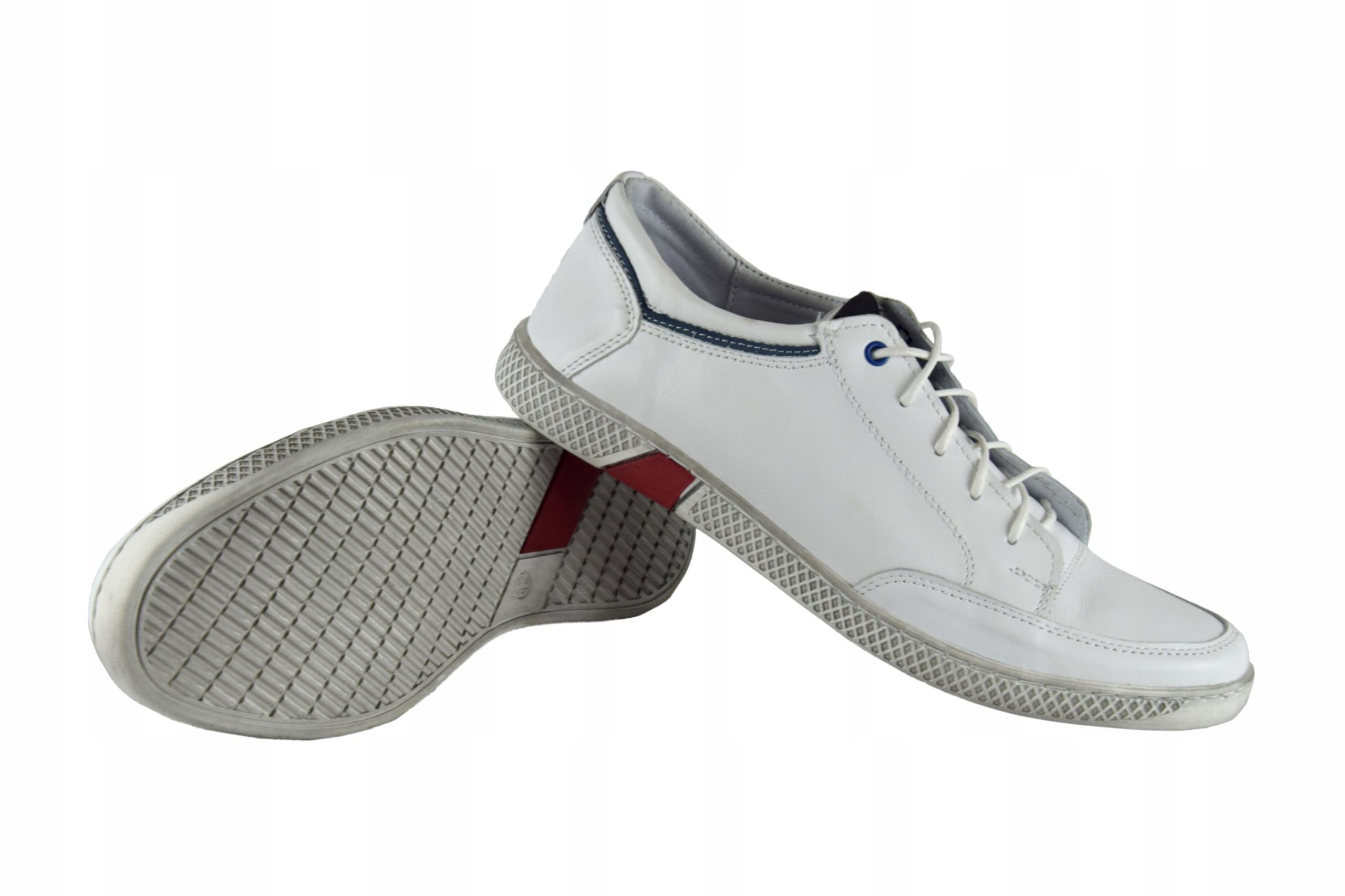 Skórzane męskie białe sznurowane buty męskie 0447 Rozmiar 40