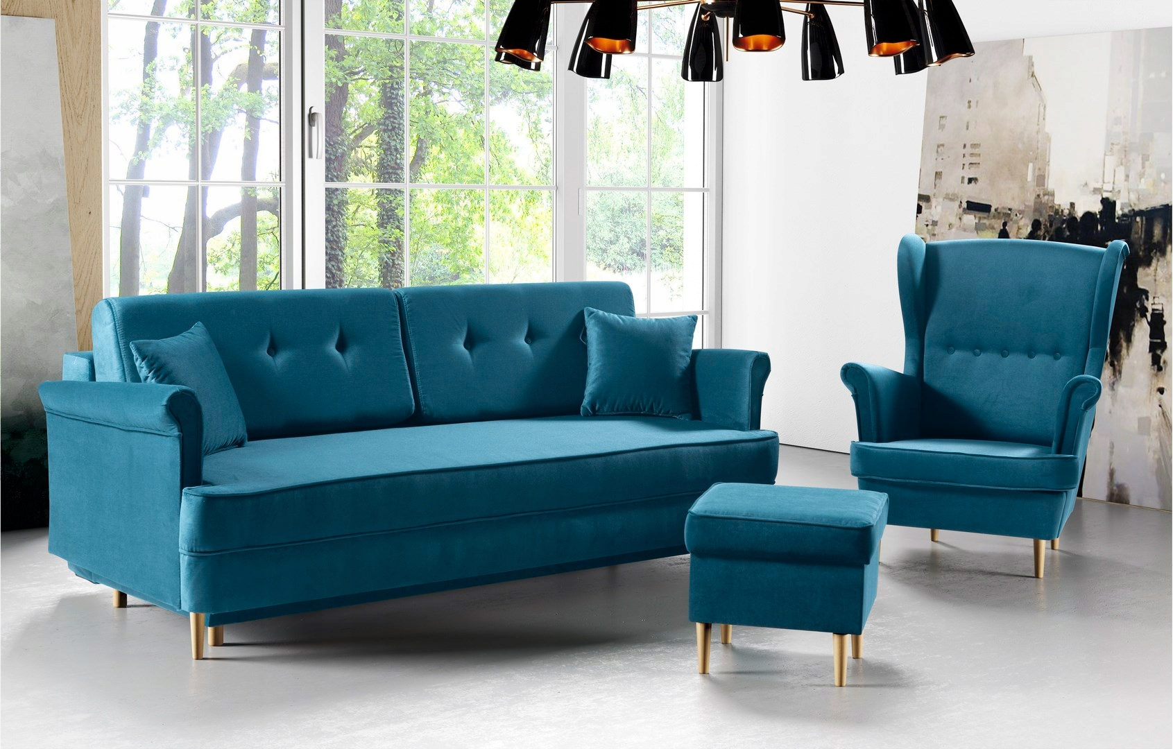 Couch LUIS stilvolles Sofa f. Schlafbehälterfarben Farbe rosa Polsterung