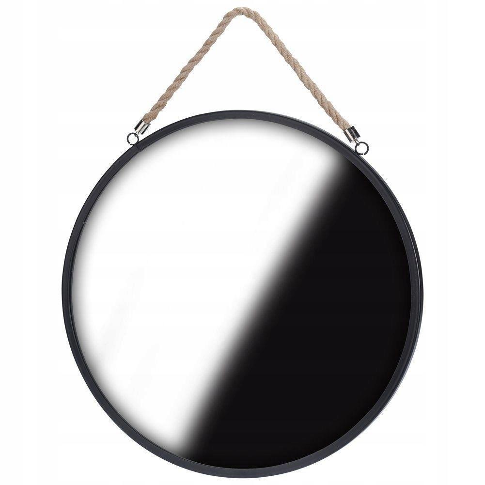 Зеркало круглое на шнурке 41см чёрное LOFT