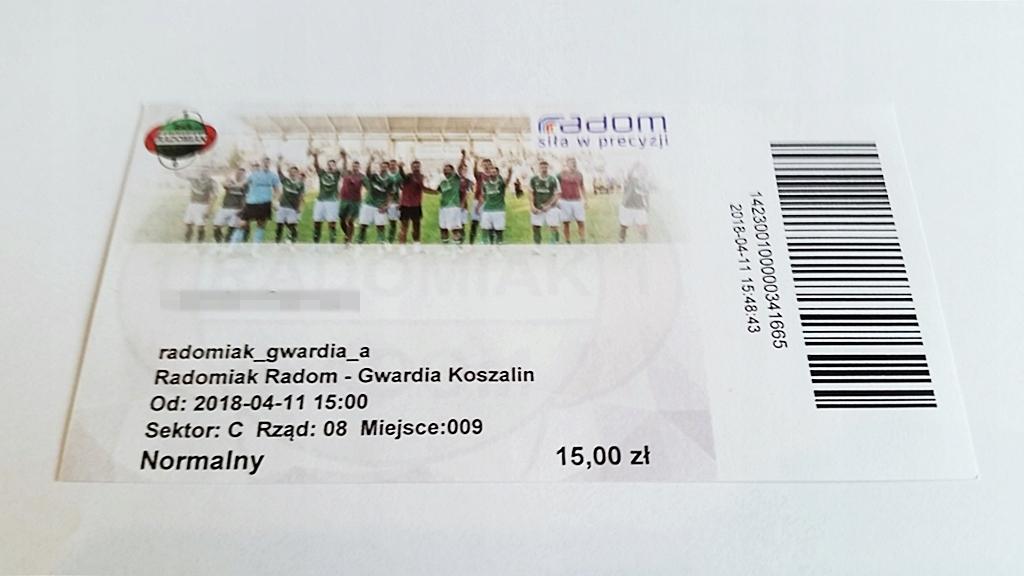 bilet RADOMIAK Radom - GWARDIA Koszalin 11.04.2018