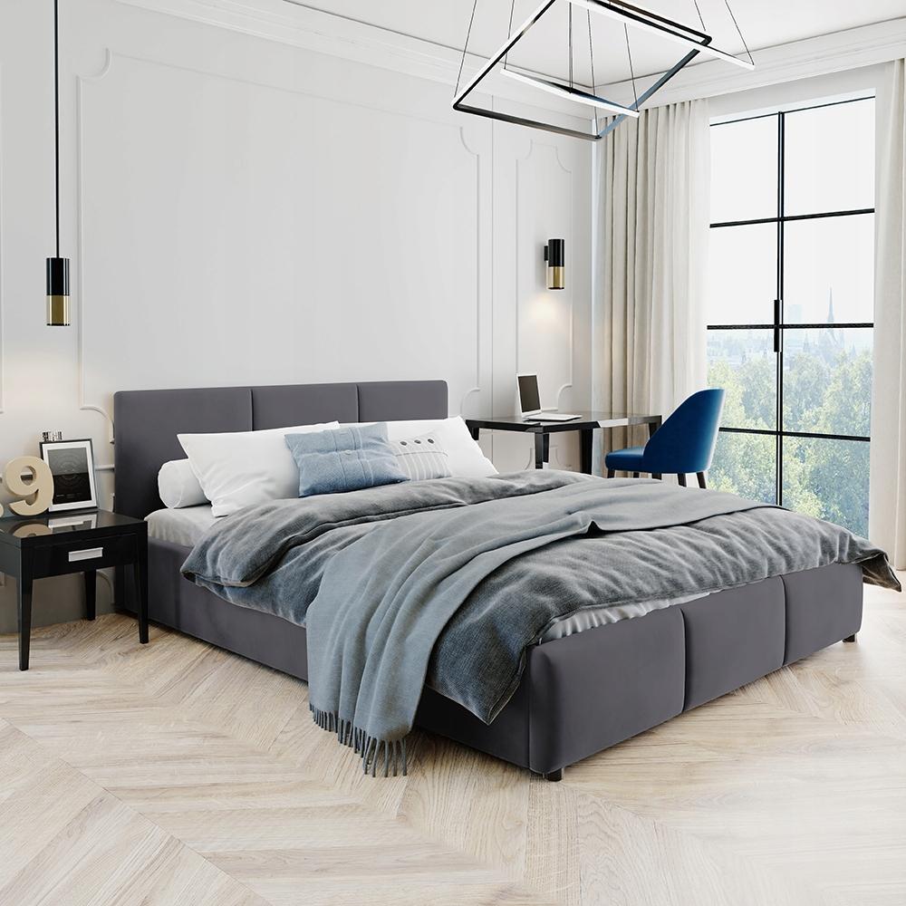 Łóżko Tapicerowane Popiel Welur Welurowe 160x200