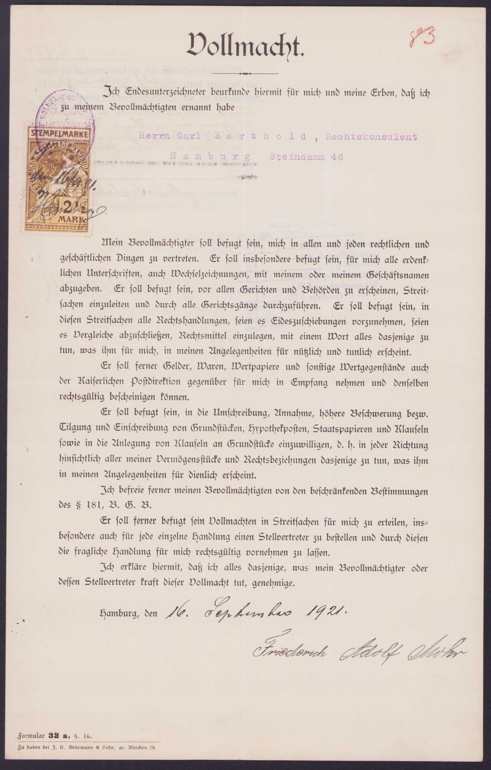 ДОХОД - Доверенность Фольмахта, Гамбург, 1921 г.