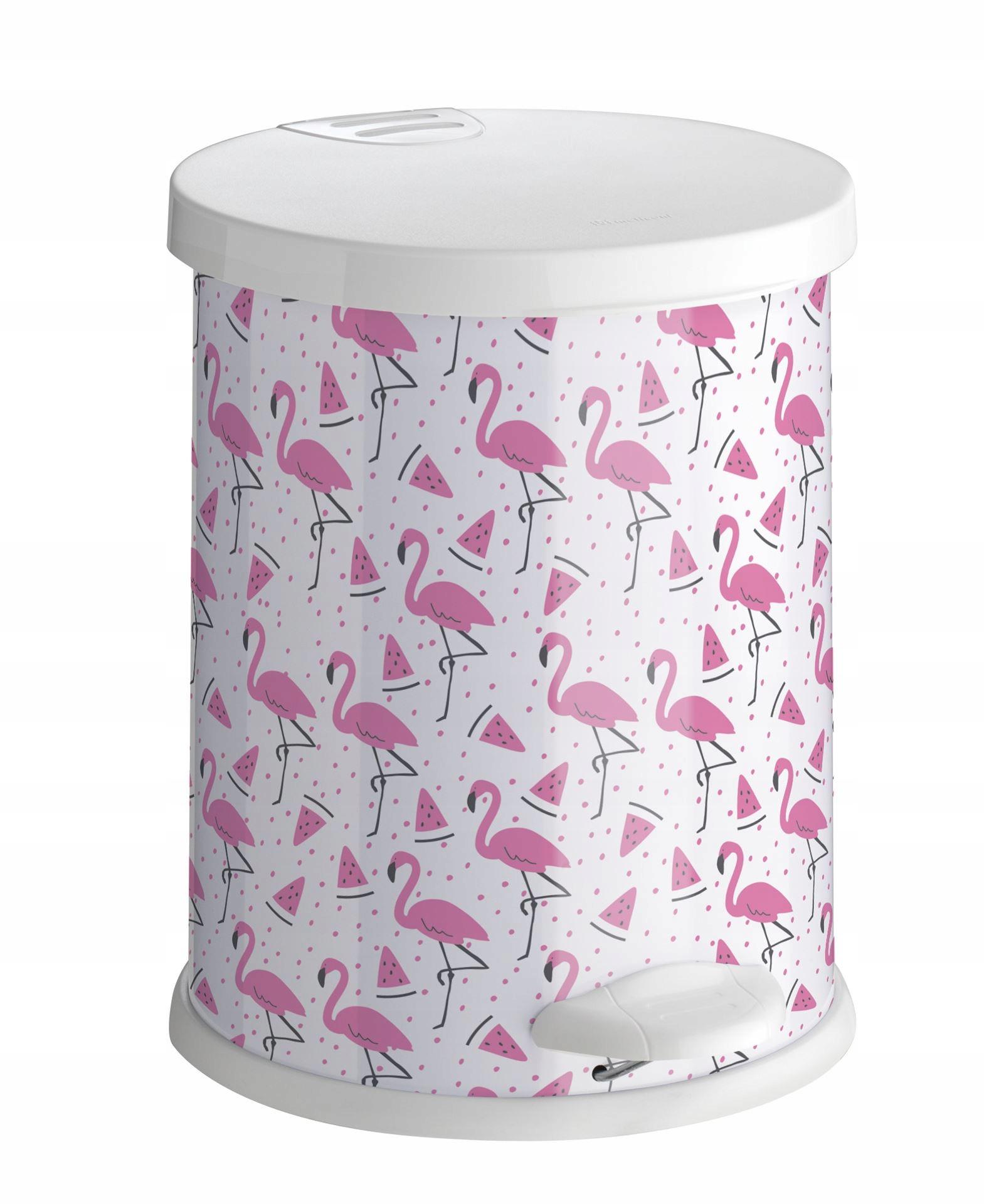 Odpadkový kôš Odpadkový kôš 12 L biele a ružové plameniaky