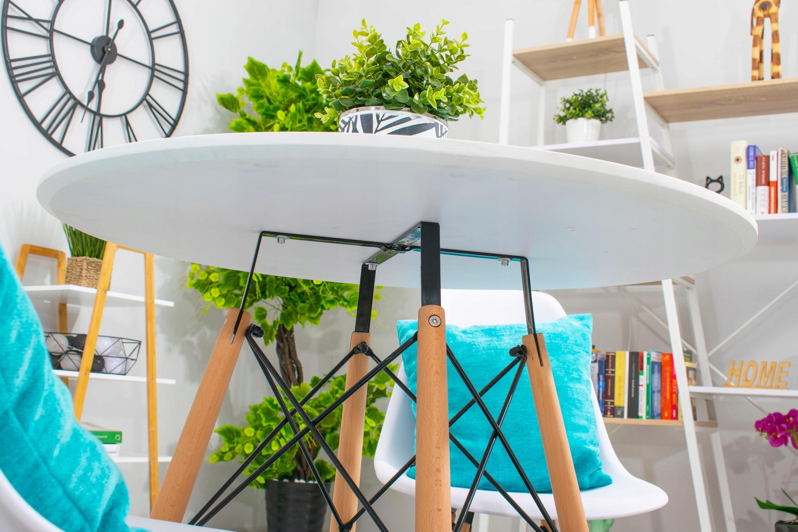Stół + 4 Krzesła Nowoczesny Skandynawski Styl DSW Kształt blatu Okrągły