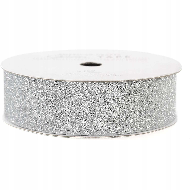 Taśma samoprzylepna brokatowa - srebrna, 2,2 cm