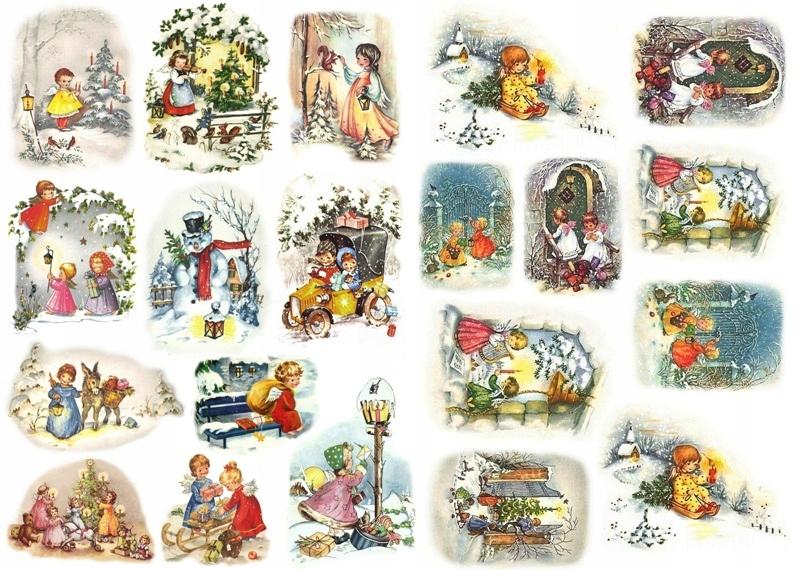 Papier ryżowy A4 papiery Aniołki dzieci zima